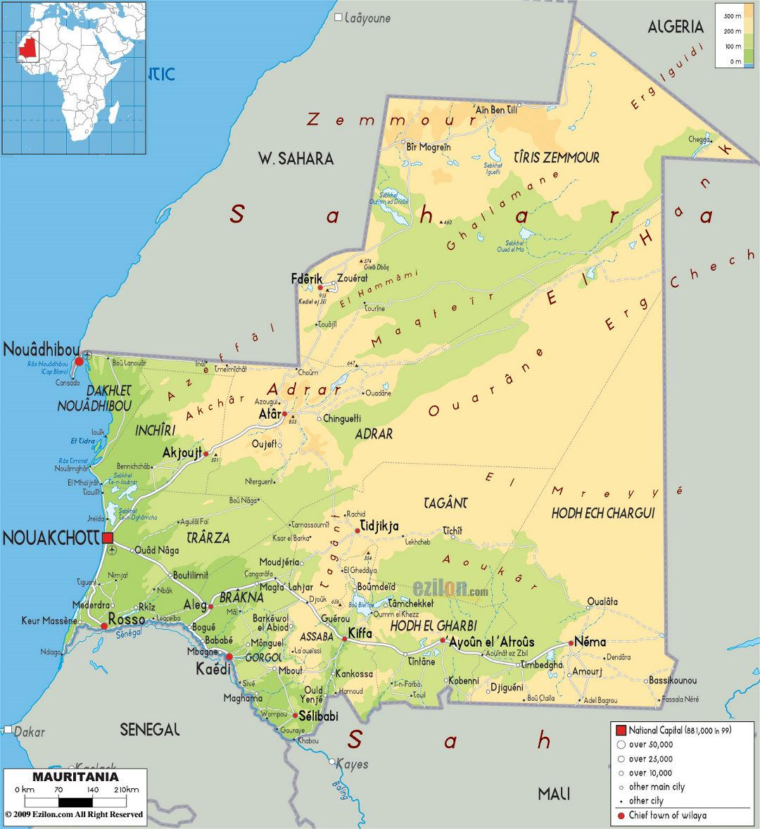 Large physical map of Mauritania with roads, cities and airports