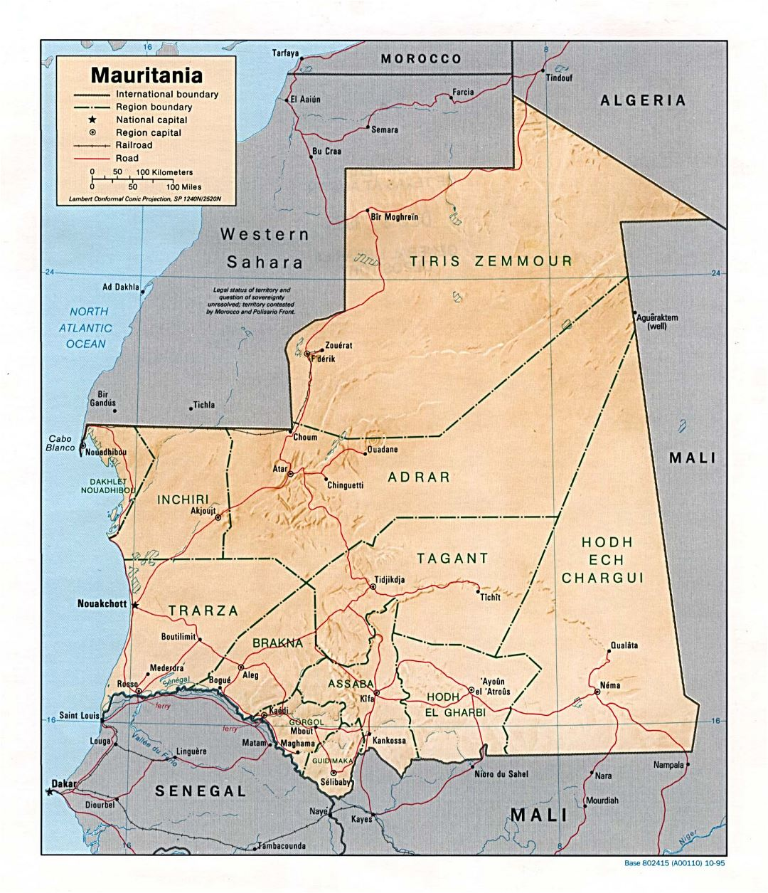 Large political and administrative map of Mauritania with relief, roads, railroads and major cities - 1995