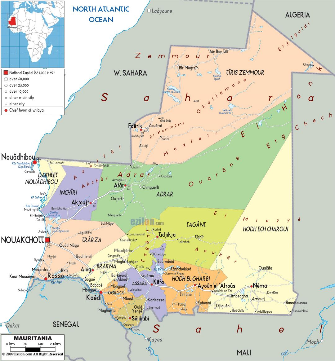 Large political and administrative map of Mauritania with roads, cities and airports