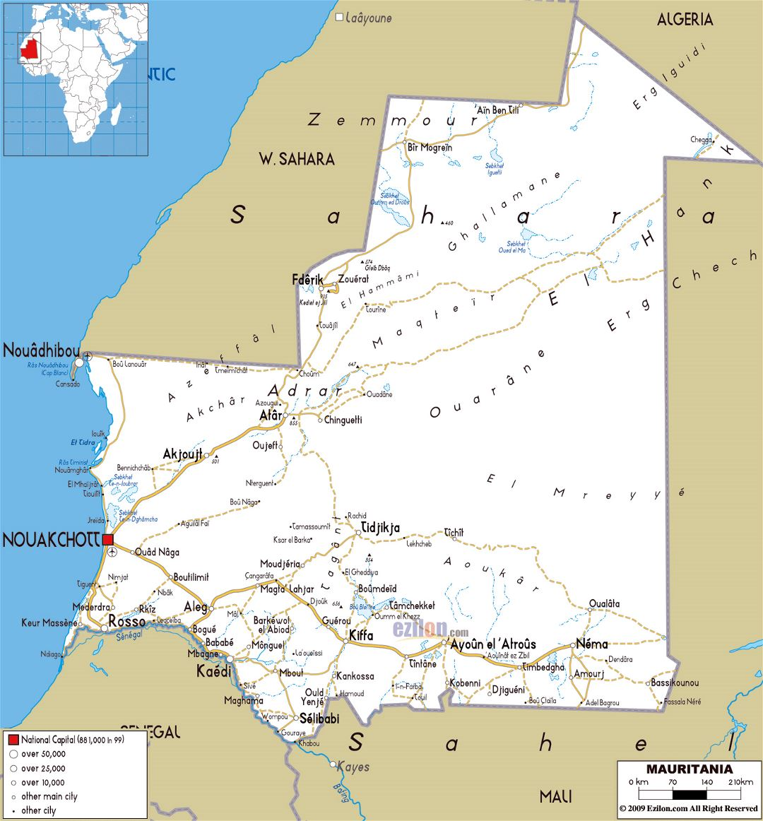 Large road map of Mauritania with cities and airports