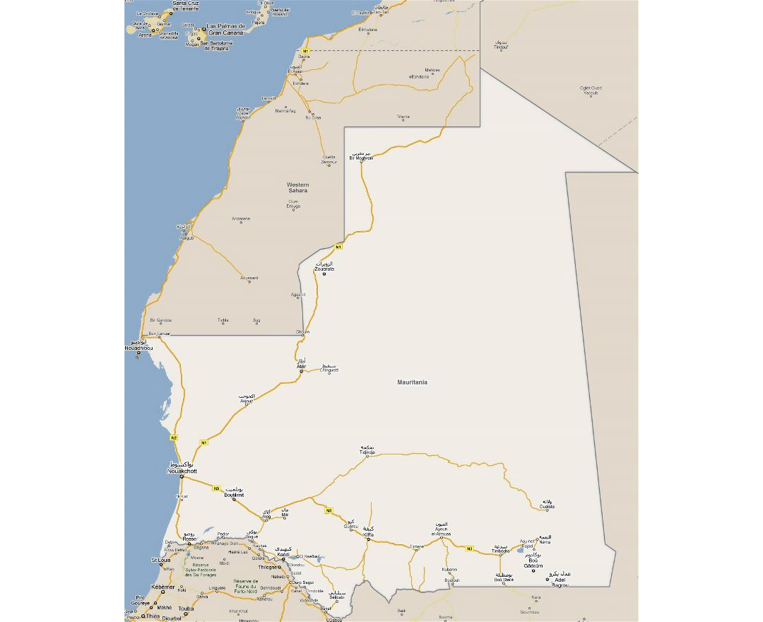 Maps of Mauritania Detailed map of Mauritania in English Tourist