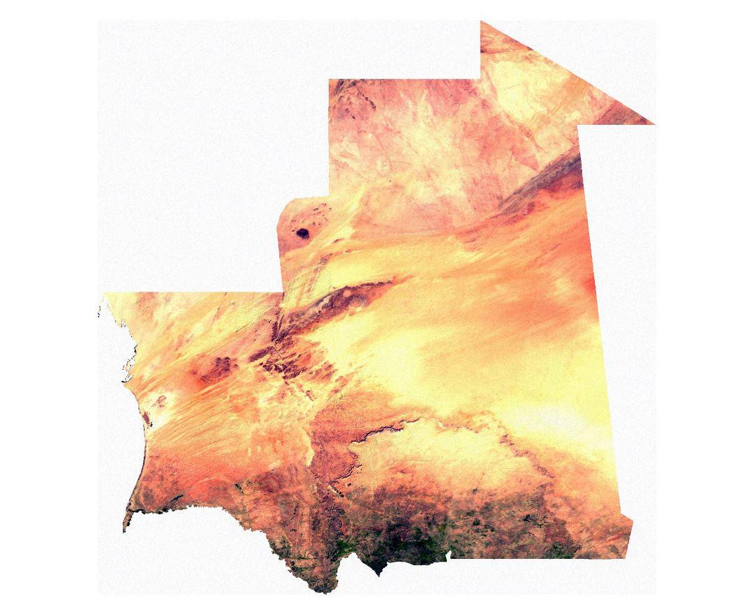 Large satellite map of Mauritania Maps of