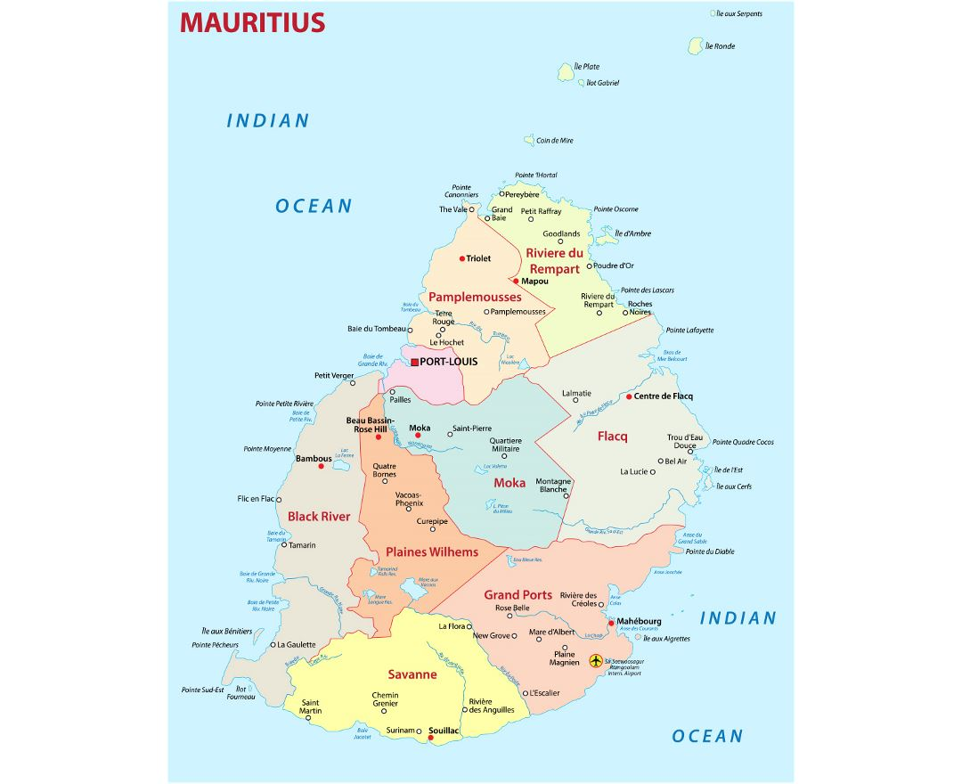 Detailed administrative map of Mauritius with cities and airports