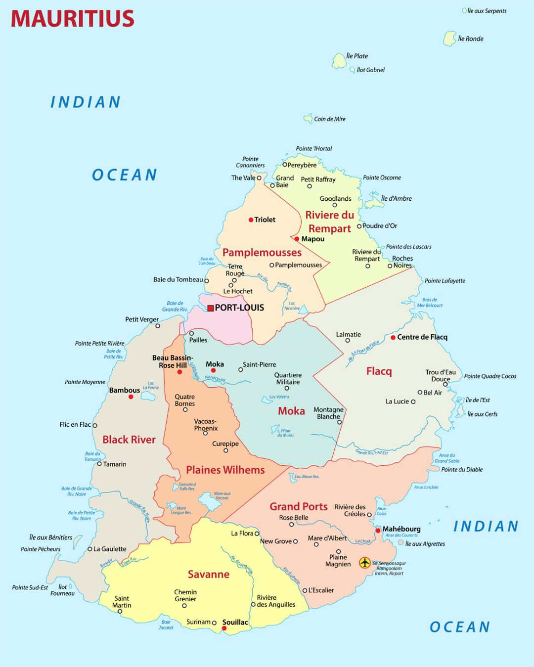 Detailed administrative map of Mauritius with cities and airports ...