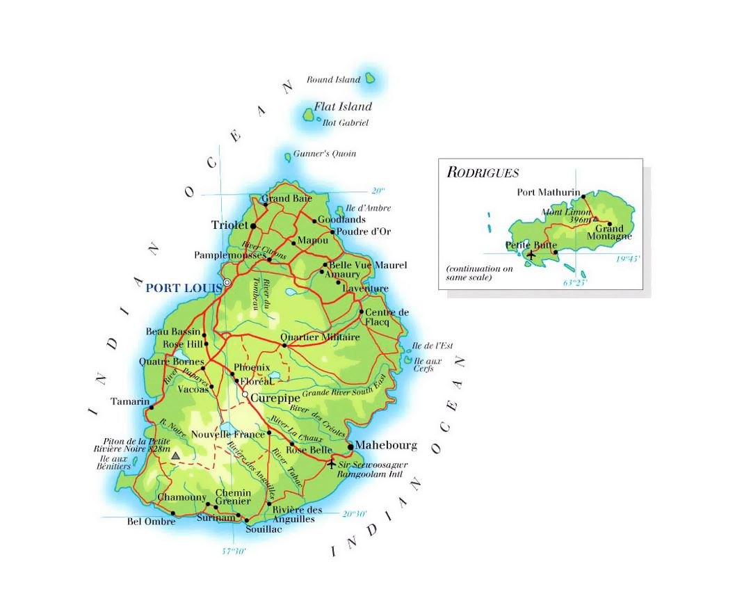 Detailed elevation map of Mauritius with roads, cities and airports