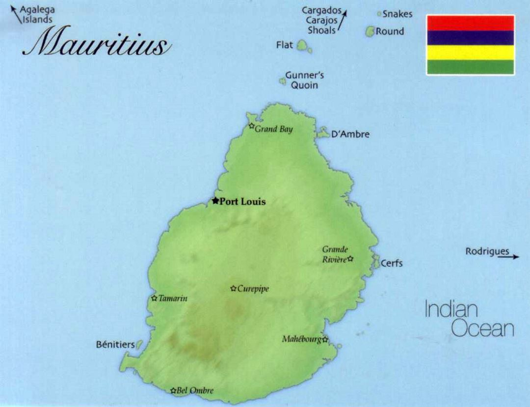 Detailed map of Mauritius with flag