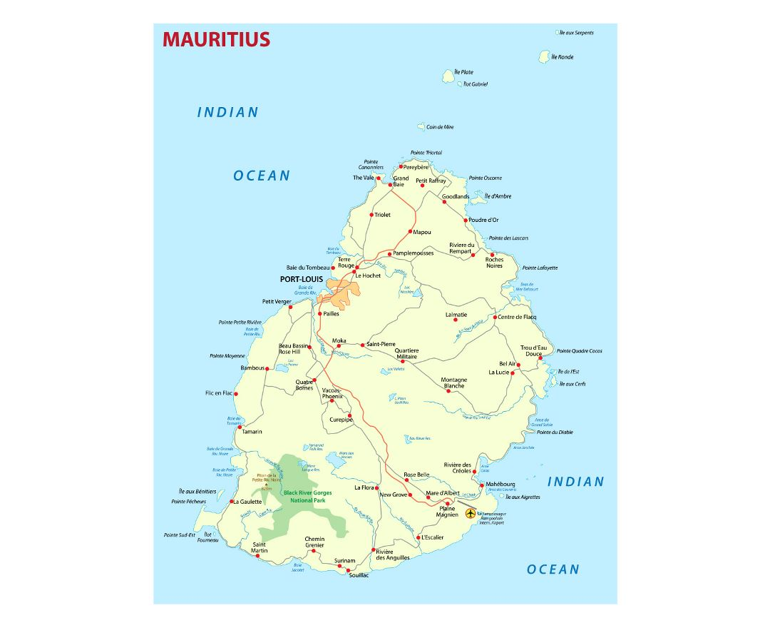 Detailed map of Mauritius with roads and cities
