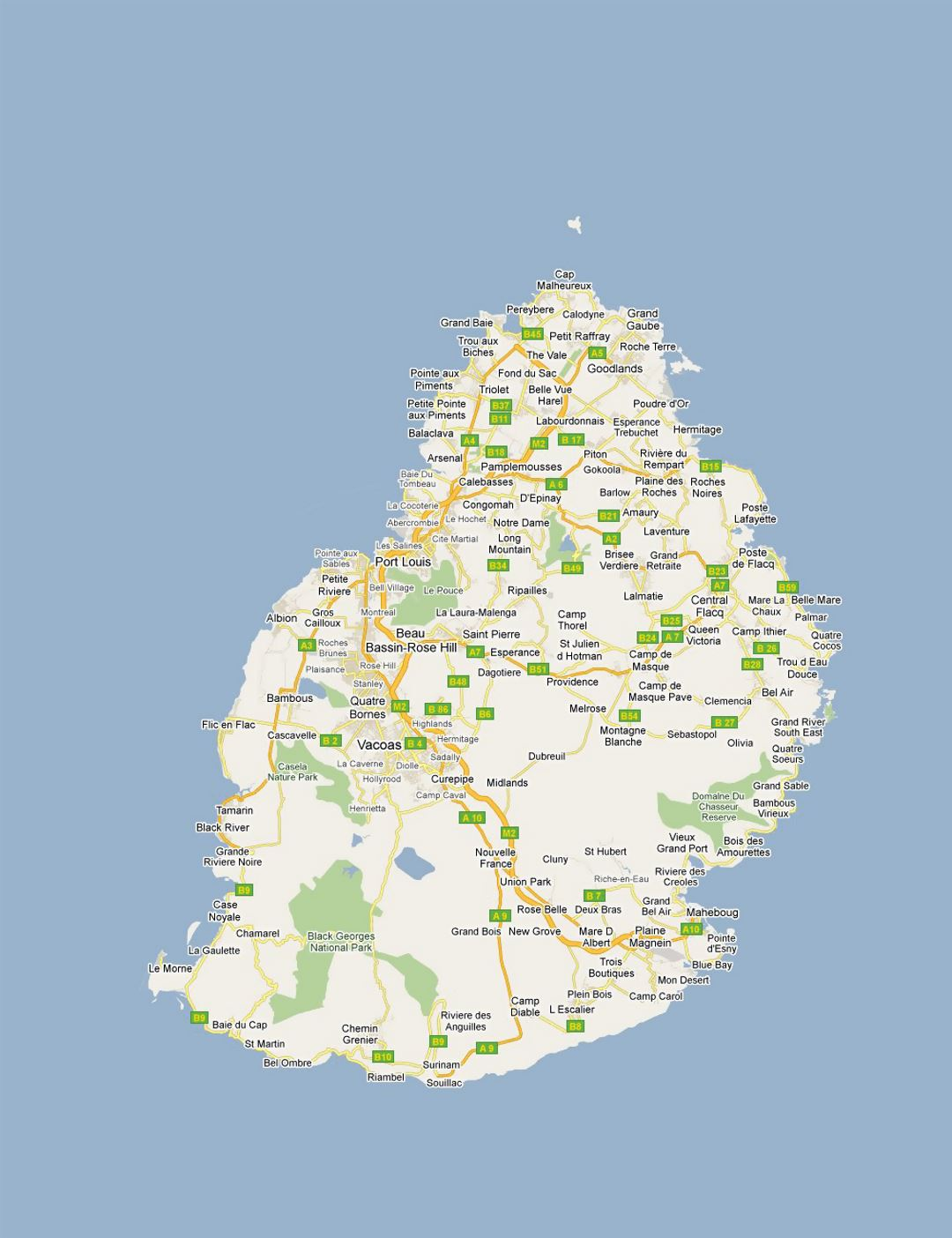 Detailed road map of Mauritius with all cities and villages