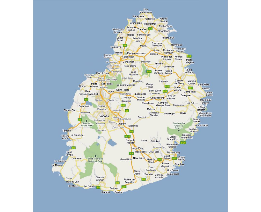 Detailed road map of Mauritius with cities and villages