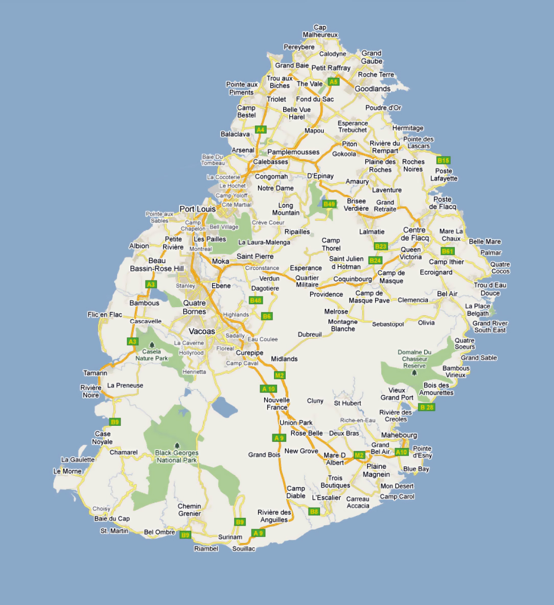 Detailed road map of Mauritius with cities and villages ...