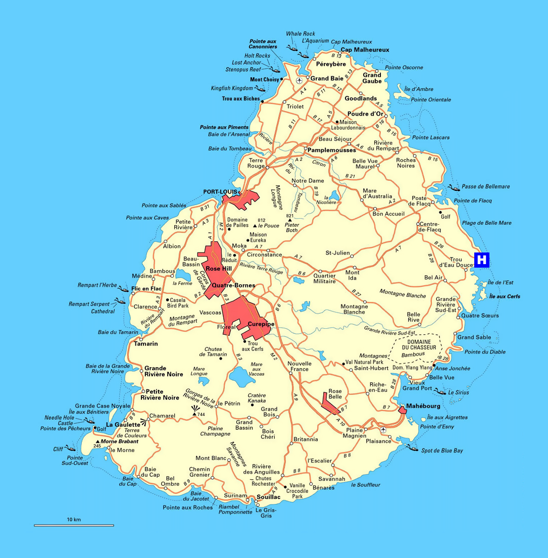 Detailed road map of Mauritius | Mauritius | Africa | Mapsland ...