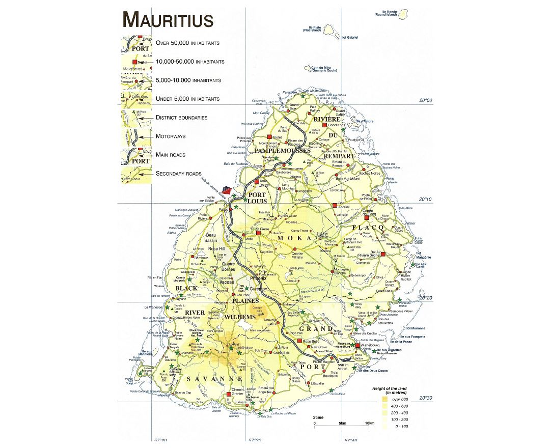 Large detailed elevation map of Mauritius with roads, cities and other marks