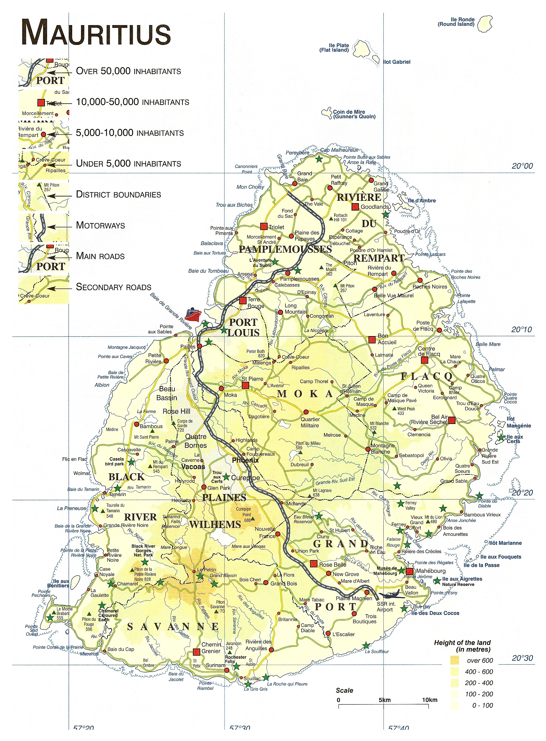 Large Detailed Elevation Map Of Mauritius With Roads Cities And - Detailed map of mauritius