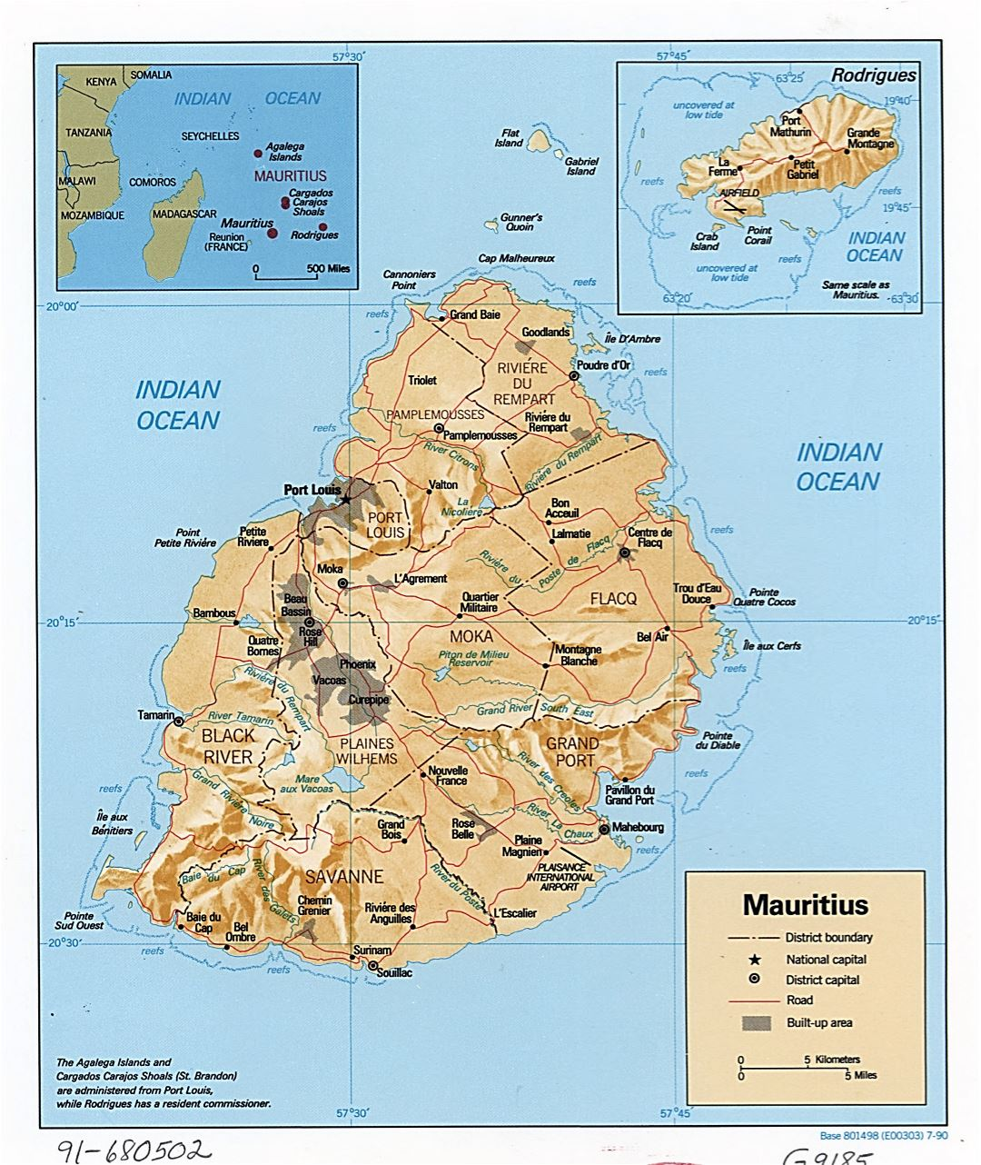 Large detailed political and administrative map of Mauritius with relief, roads and major cities - 1990