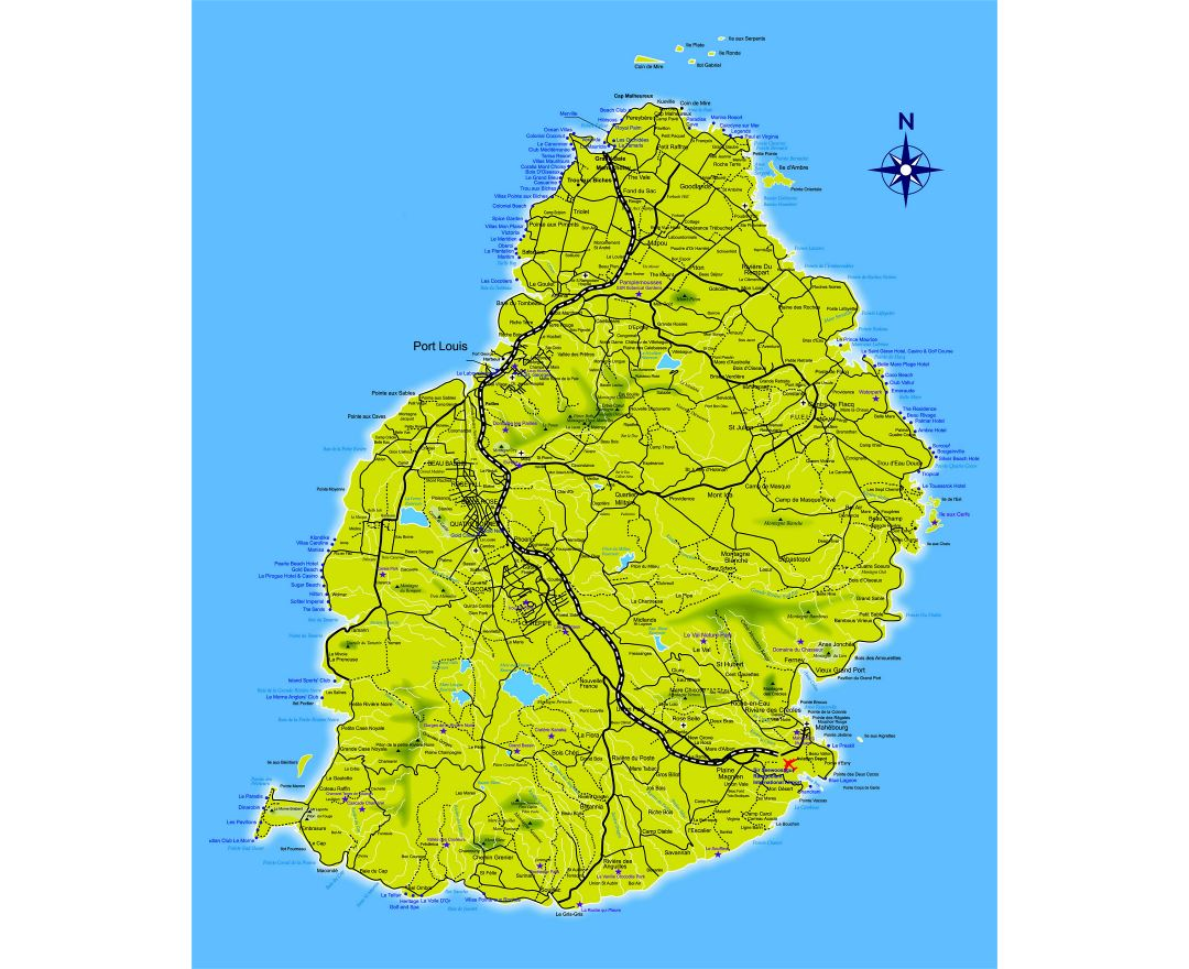 Large detailed road map of Mauritius