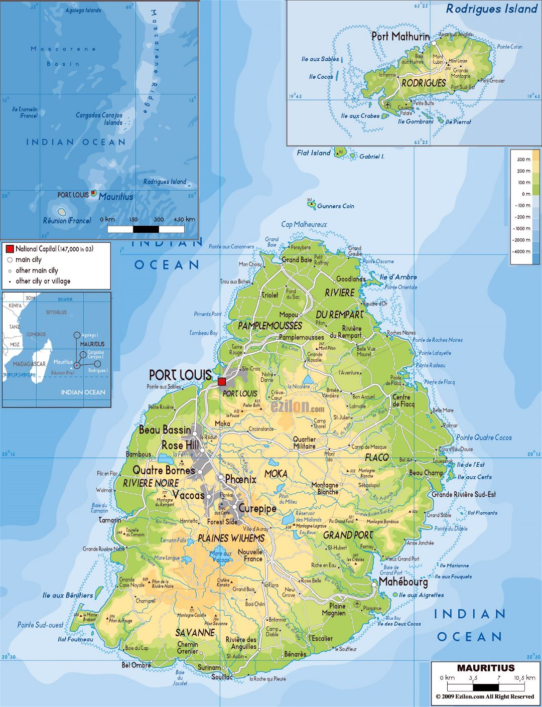 Large physical map of Mauritius with roads, cities and airports