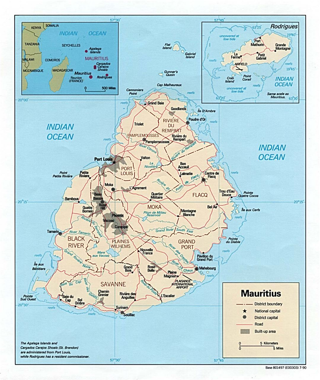 Large political and administrative map of Mauritius with roads and major cities - 1990
