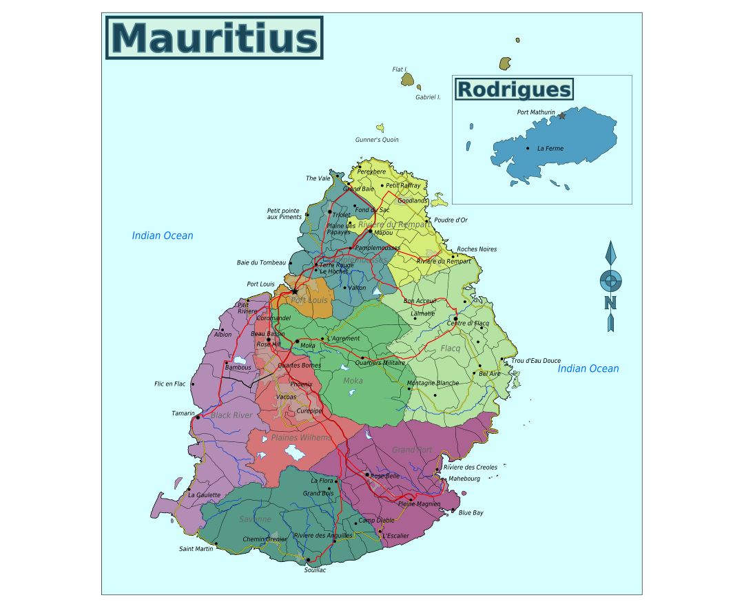 Large regions map of Mauritius