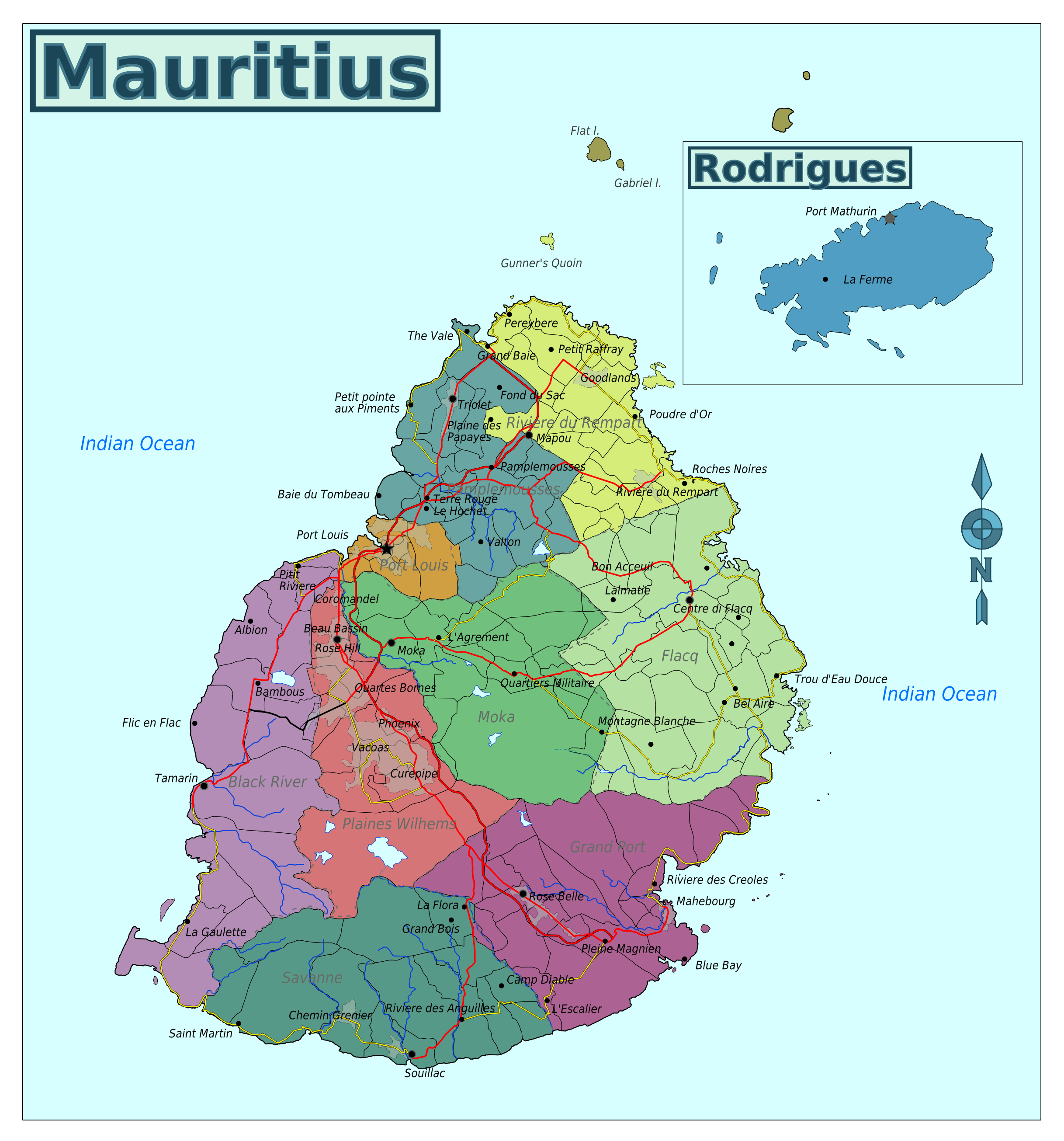 Large Regions Map Of Mauritius Mauritius Africa Mapsland - Mauritius map africa