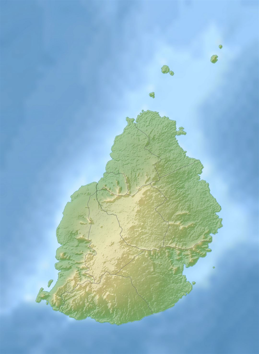 Large relief map of Mauritius