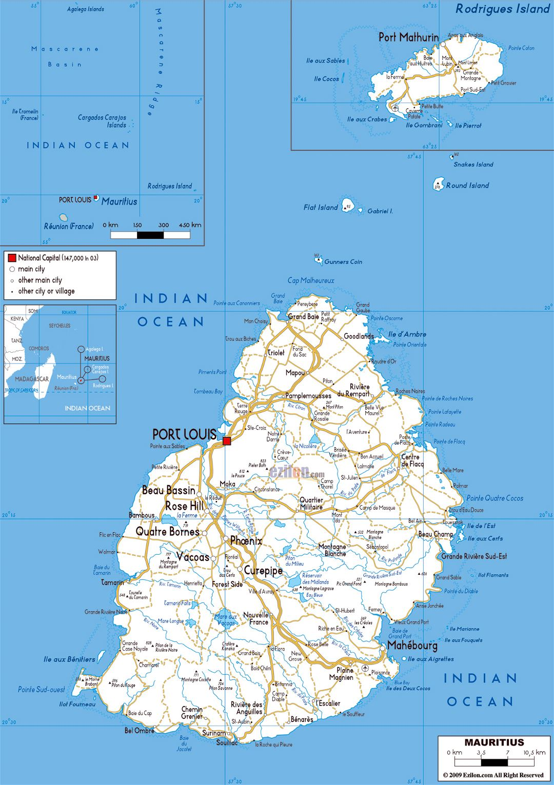 Large road map of Mauritius with cities and airports