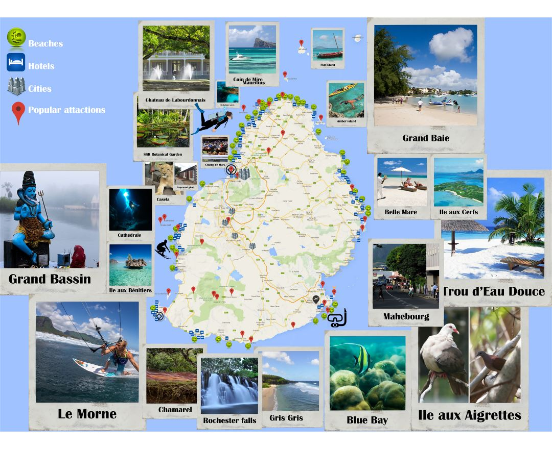 Large tourist map of Mauritius
