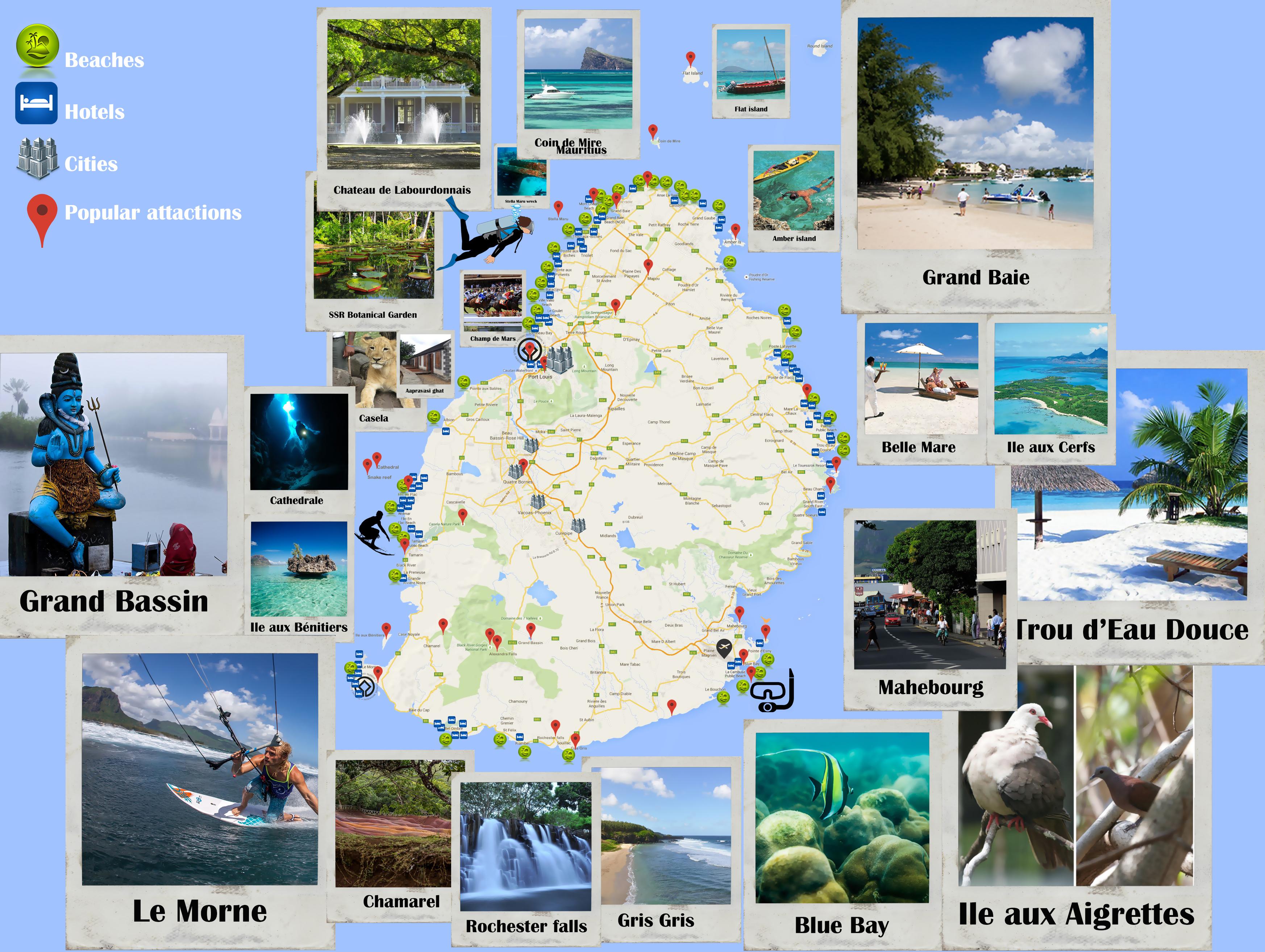 Large tourist map of Mauritius Mauritius Africa Mapsland