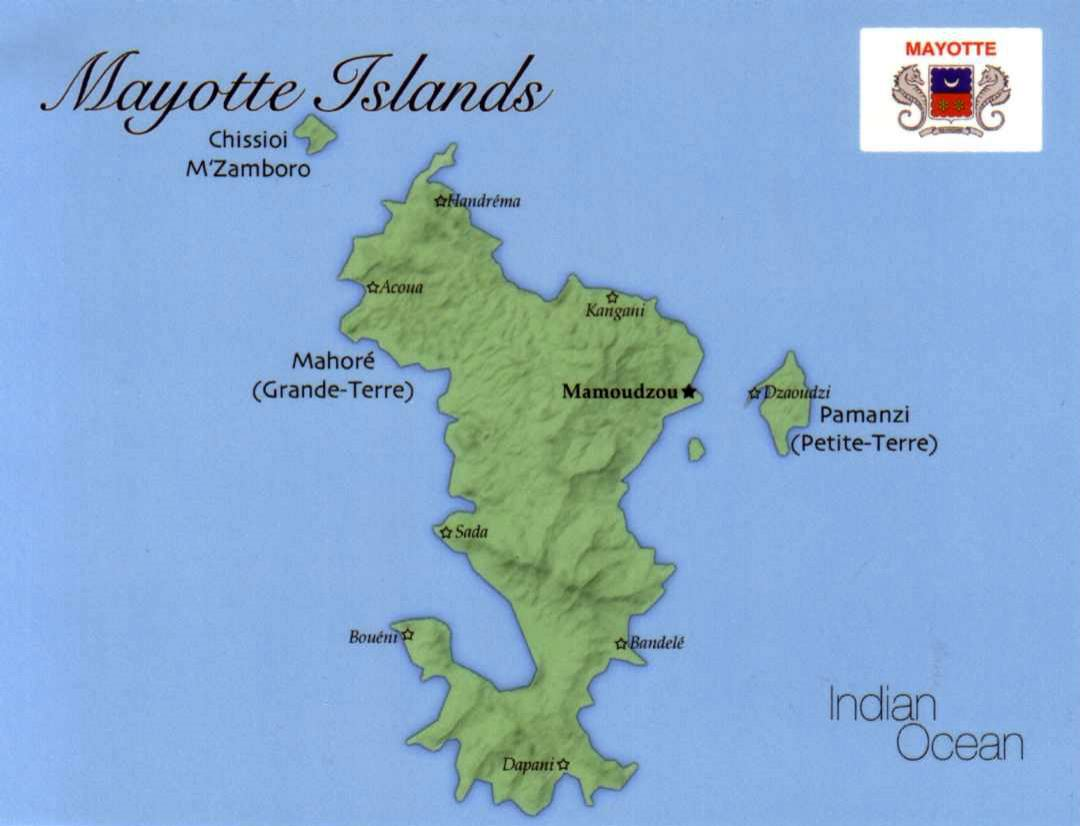 Detailed map of Mayotte Island with flag