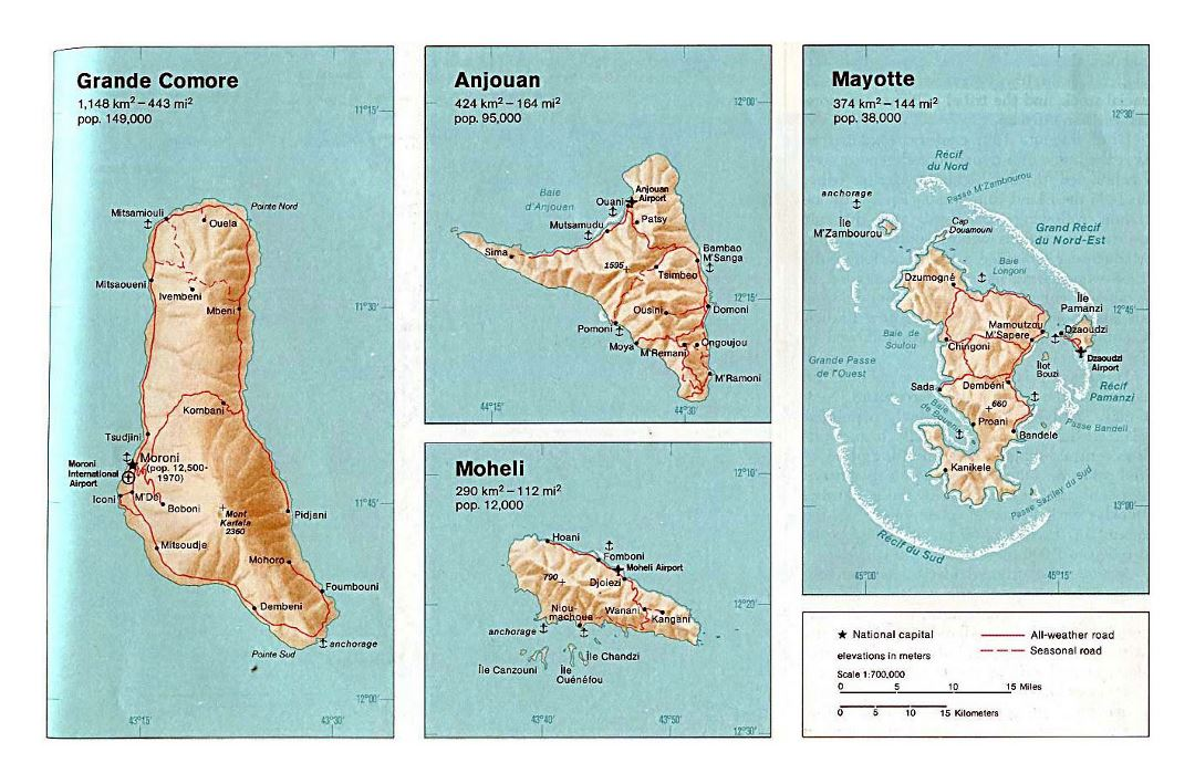 Detailed political map of Grande Comore, Anjouan, Moheli and Mayotte with relief, roads, cities, ports and airports