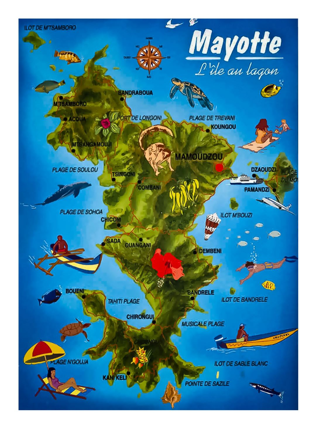 Detailed tourist map of Mayotte Island