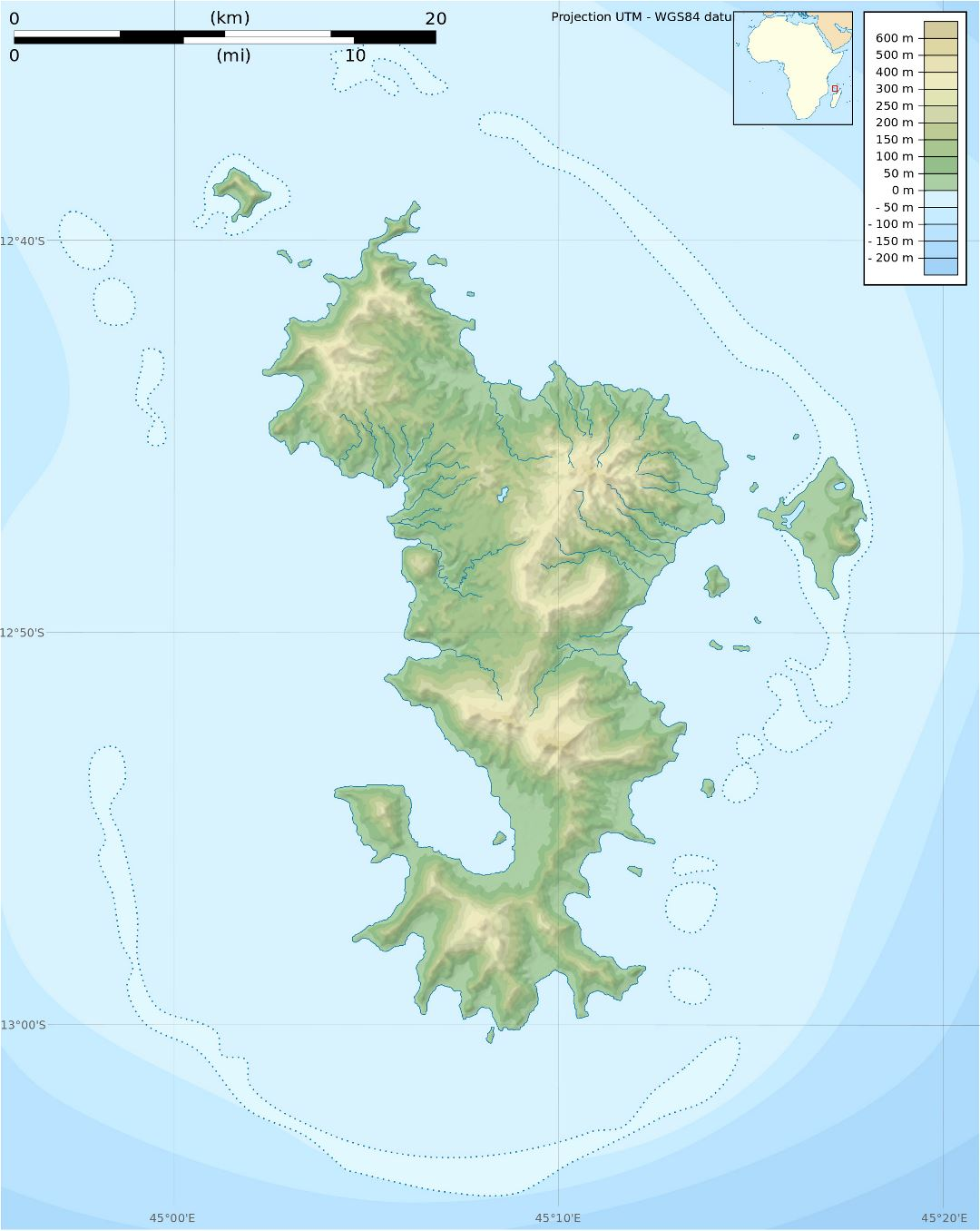 Large physical map of Mayotte Island