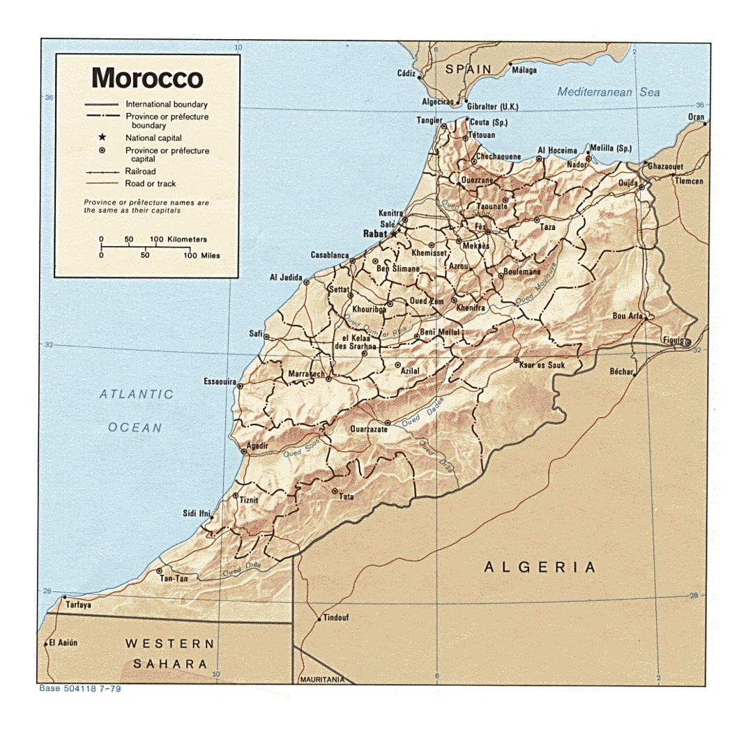 Detailed political and administrative map of Morocco with relief, roads, railroads and major cities - 1979