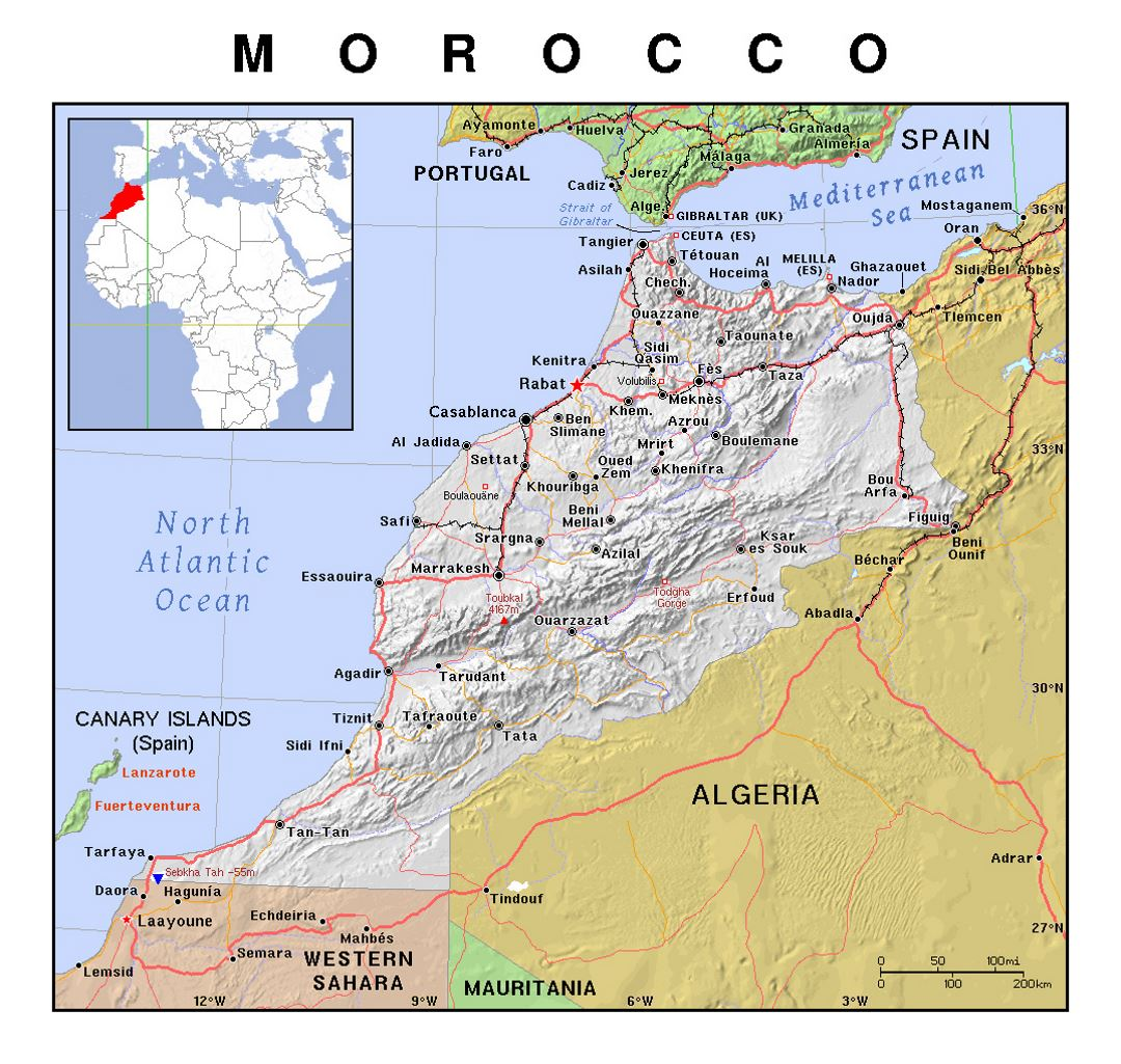 Detailed political map of Morocco with relief
