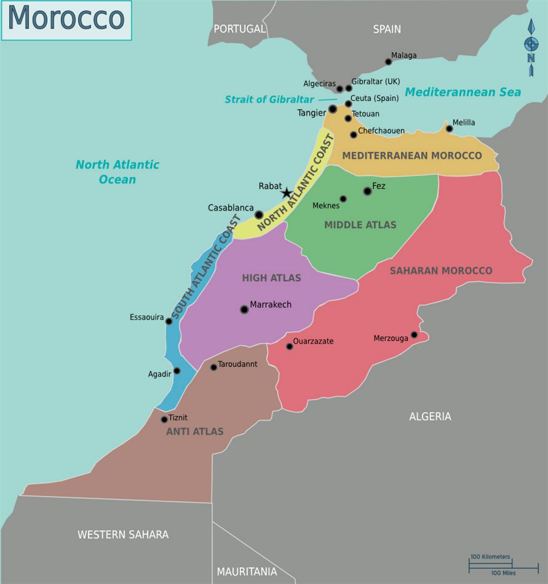 Map Of Spain Gibraltar And Morocco.Detailed Regions Map Of Morocco Morocco Africa Mapsland Maps