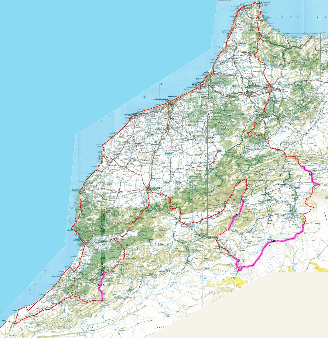 Detailed road map of Morocco