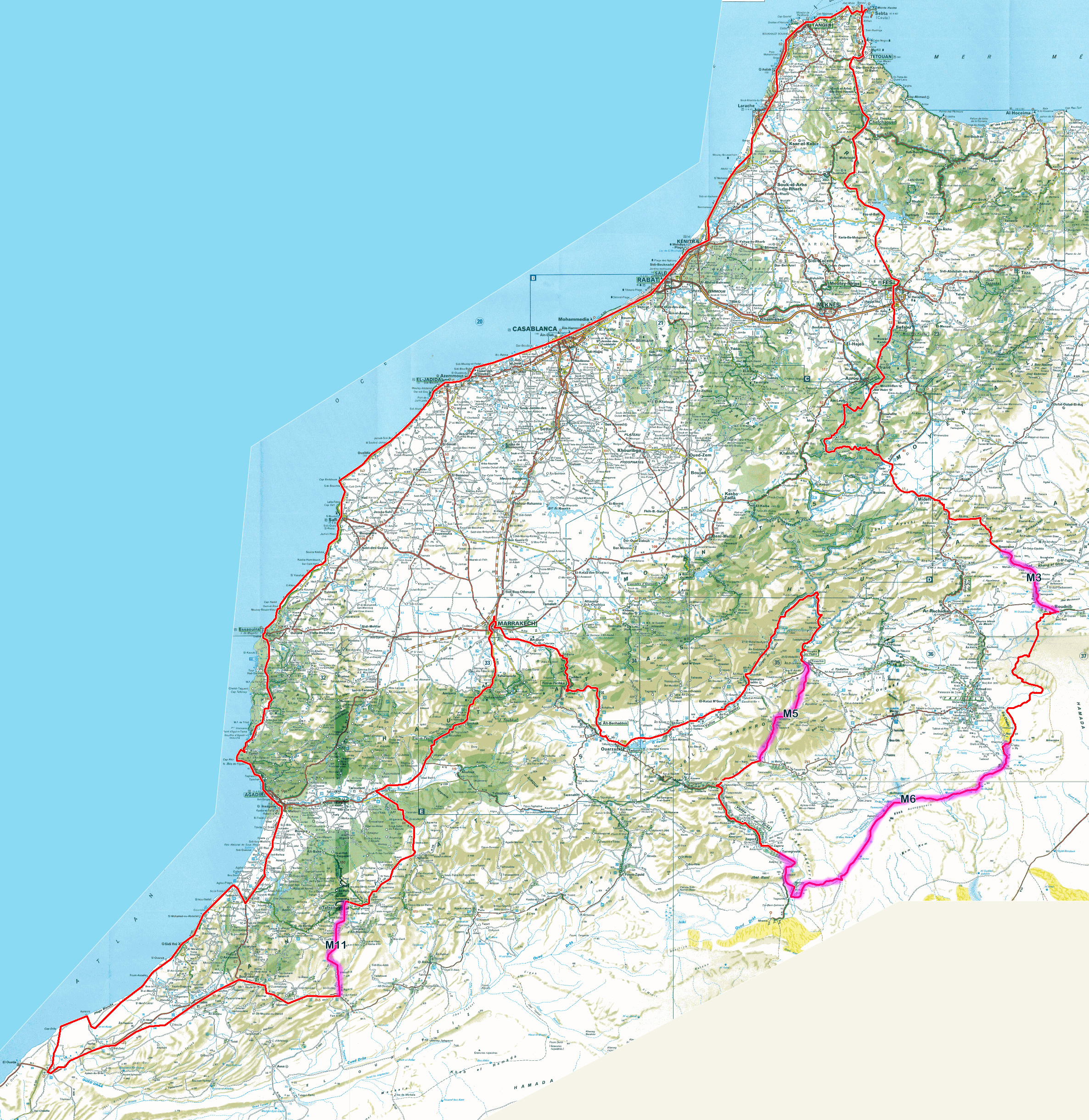 Detailed Road Map Of Morocco Morocco Africa Mapsland Maps - Map of morocco
