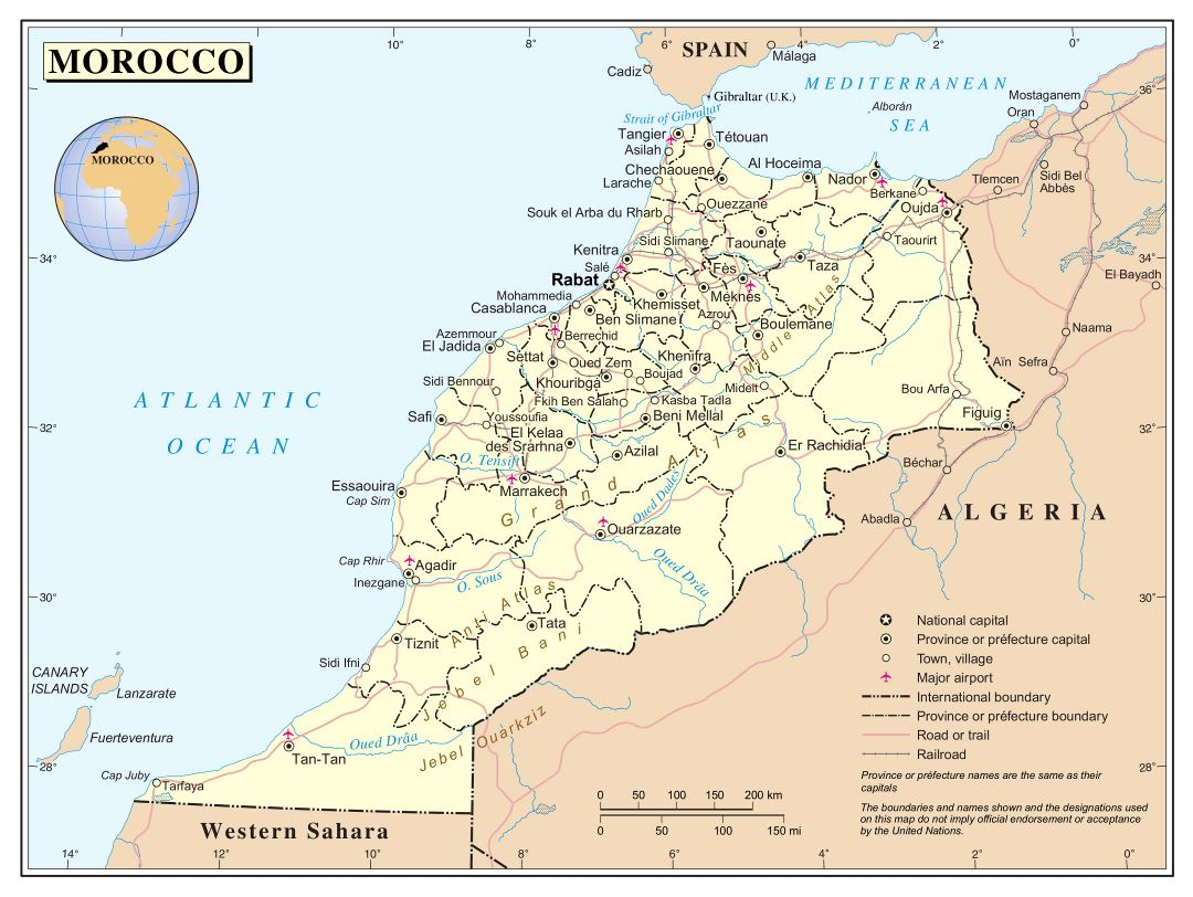 Large detailed political and administrative map of Morocco with roads, railroads, cities and airports