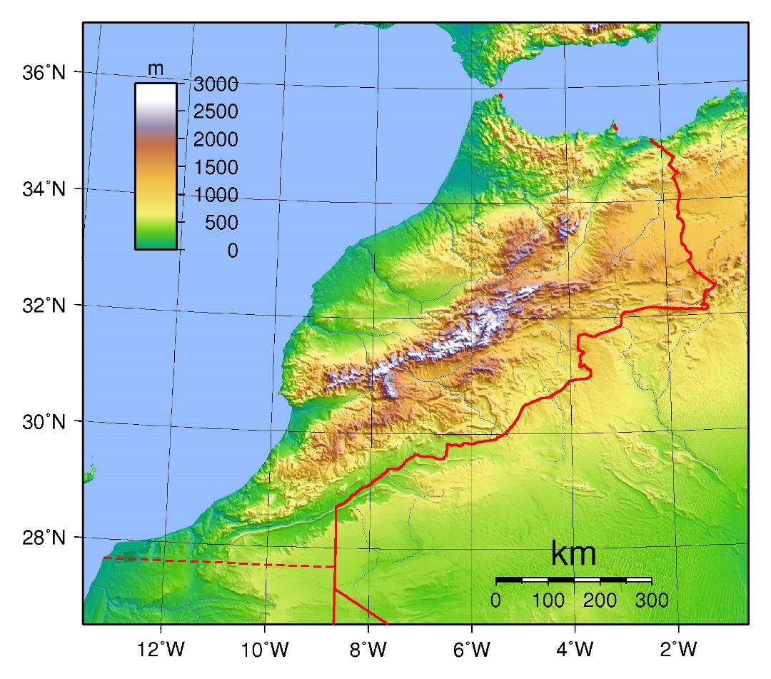 Large physical map of Morocco