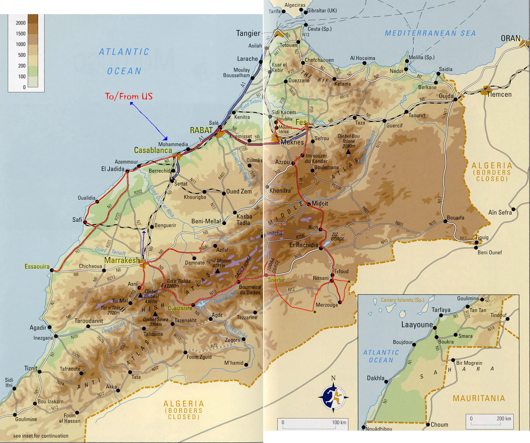 Large physical map of Morocco with roads and cities | Morocco ...