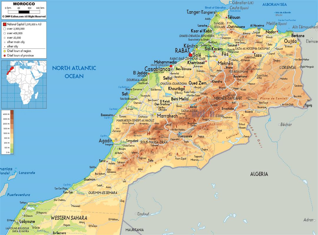 Large physical map of Morocco with roads, cities and airports
