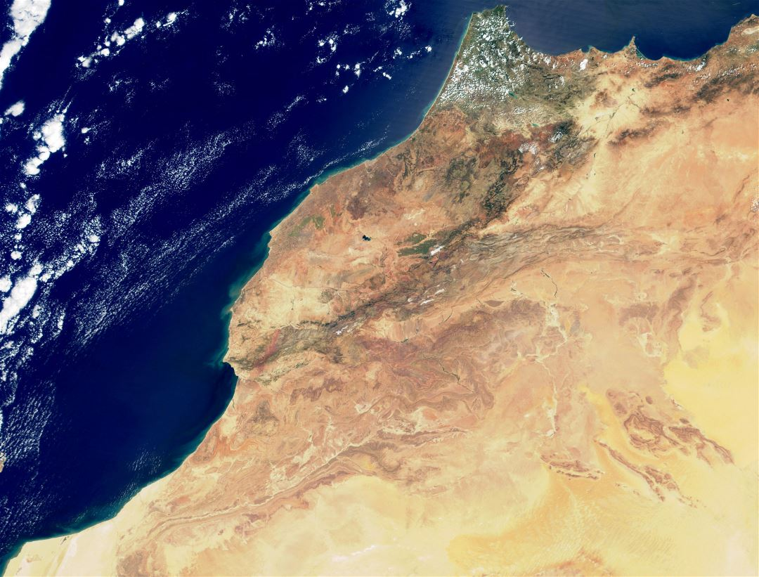 Large satellite map of Morocco