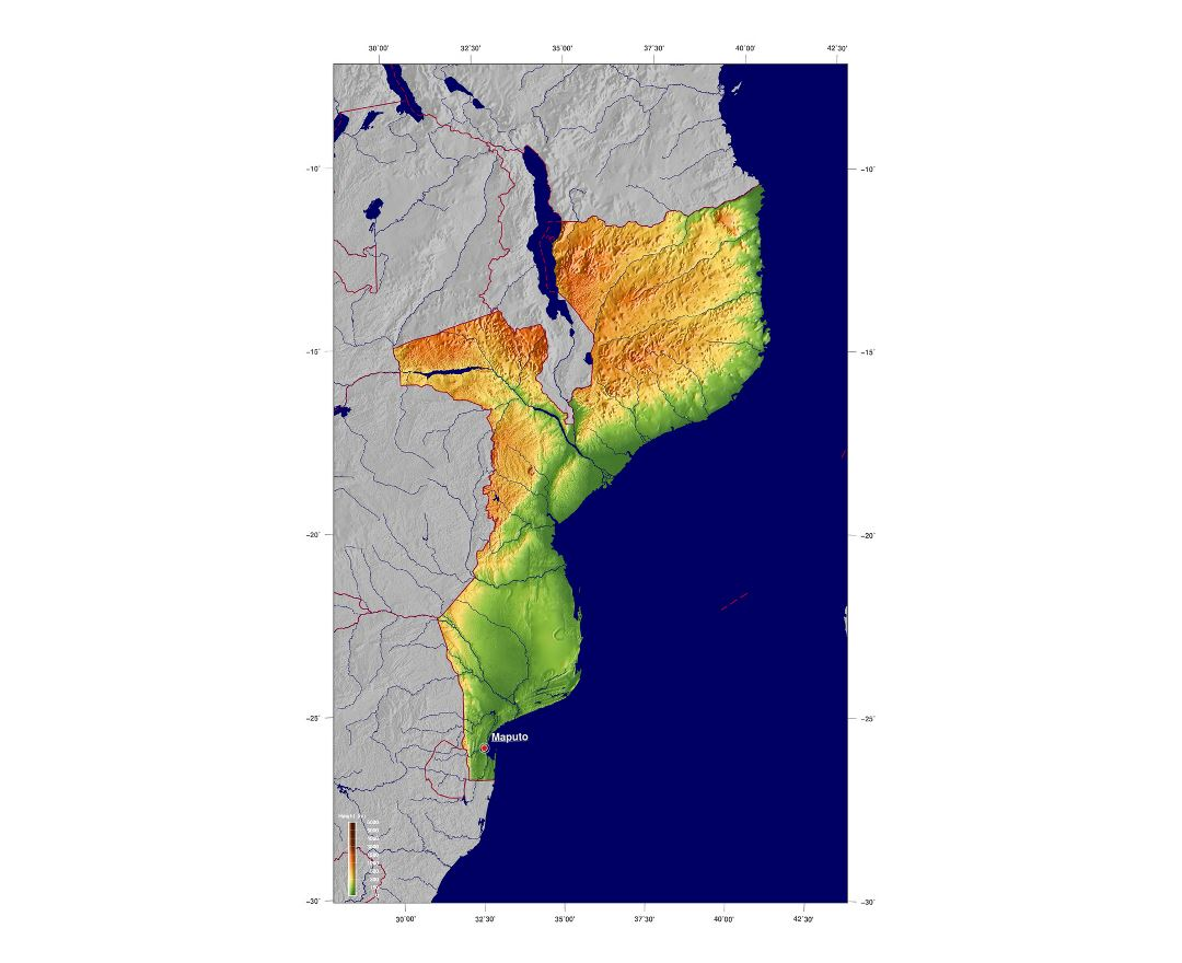 Detailed elevation map of Mozambique