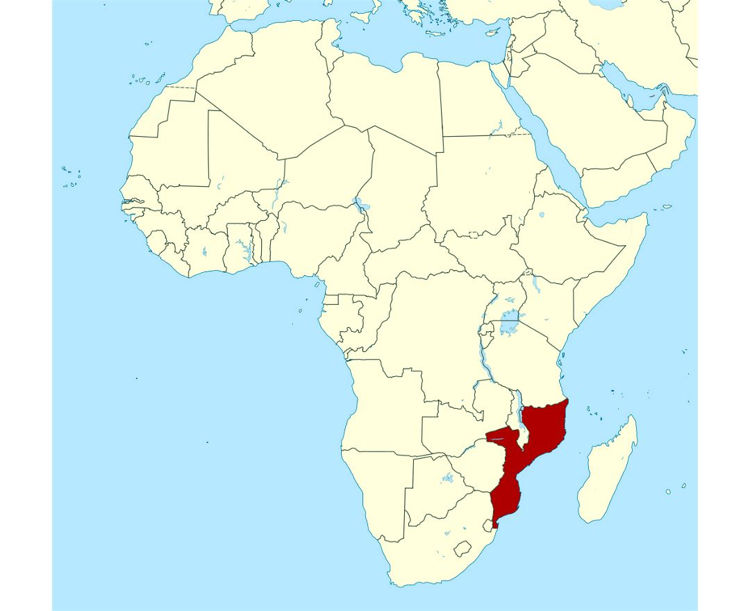 Detailed location map of Mozambique in Africa