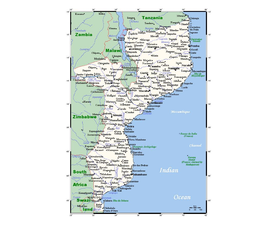 Detailed map of Mozambique with cities