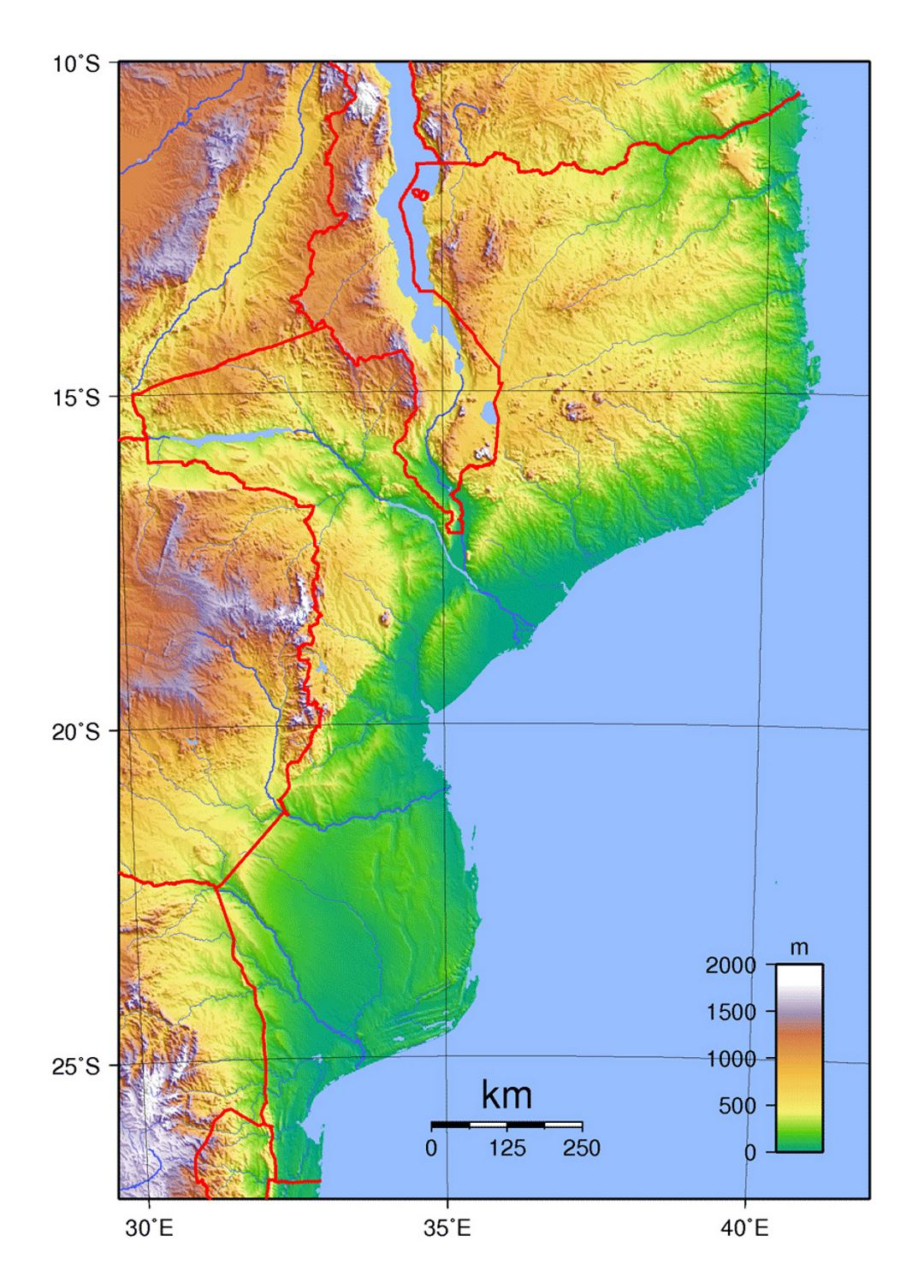 Detailed physical map of Mozambique