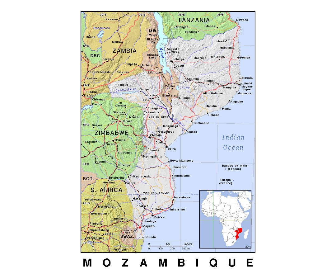 Detailed political map of Mozambique with relief