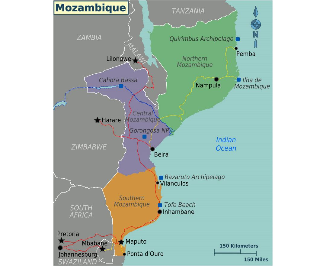 Detailed regions map of Mozambique