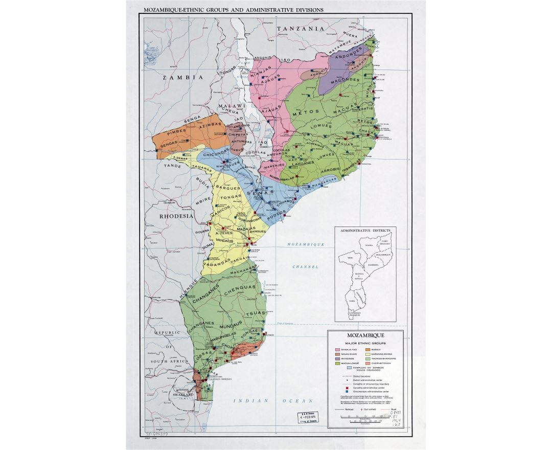 Large detailed map of Mozambique-Ethnic Groups and Administrative Divisions - 1964