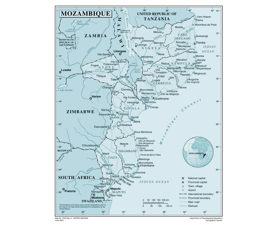 Maps of Mozambique Detailed map of Mozambique in English Tourist