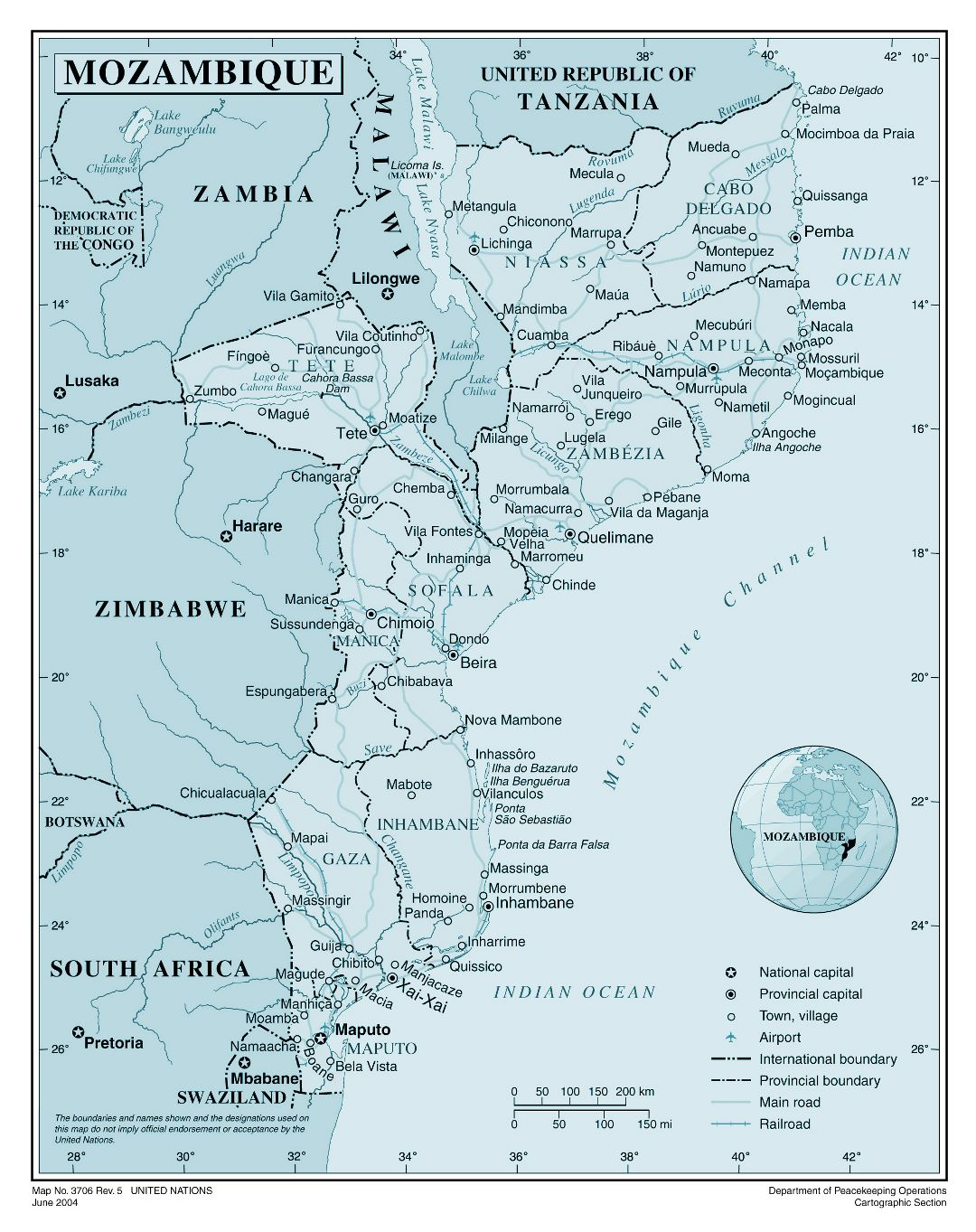 Large detailed political and administrative map of Mozambique with all cities, roads, railroads and airports